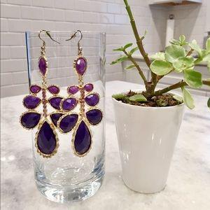Purple Ombré and Lavender Crystal Earrings